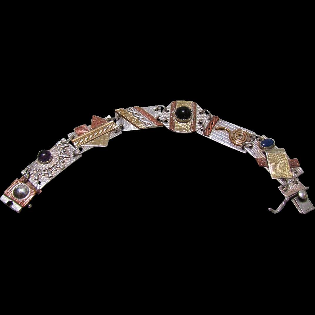 Sterling, Mixed Metal & Gemstone Modernist Bracelet