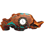 Burl Wood & Turquoise Chip Desk Clock Artist Signed
