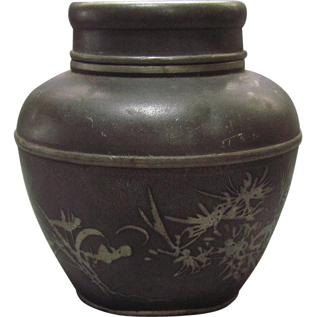 19th Century Qing Dynasty Pewter Chinese Tea Box Caddy Zhuanshu Script Signed