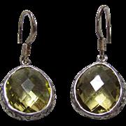Older Sterling Silver & Cut Peridot Earrings