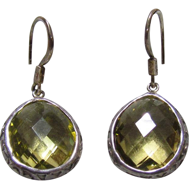 Older Sterling Silver & Cut Peridot Earrings