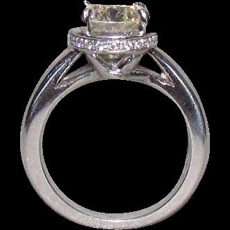 2.32 Carat Center Diamond In Custom Designed 14K White Gold Ring