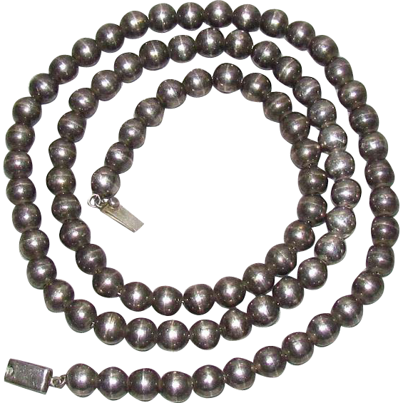 36–Inch 10mm Sterling Silver Hand Made Bead Mexican Necklace