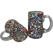 2 Hand Blown Fused Spatter Art Glass Mugs