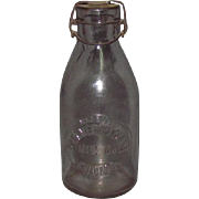 Earliest Blown Glass Milk Bottle Metal Lid Chicago