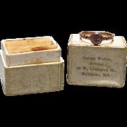 9K Rose Gold & Rose Cut Diamond Infant Ring Baltimore c1860