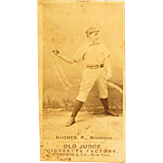 1889 Old Judge Cigarette Baseball Card Mickey Hughes Brooklyn Bridegrooms
