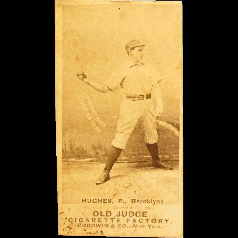 1889 Old Judge Cigarette Baseball Card Mickey Hughes Brooklyn Bridegrooms