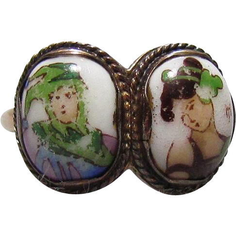 c1780 Georgian 15K Gold Double Hand Painted Porcelain Ring