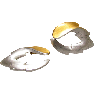 Kerry MacBride Sterling Silver & 18K Overlay Modernist Earrings