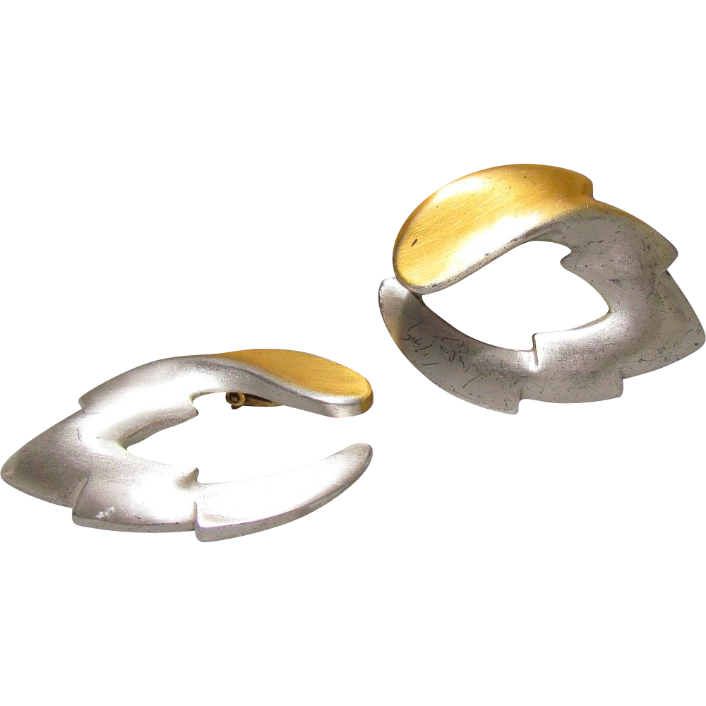 Kerry MacBride Sterling Silver & 18K Overlay Modernist Earrings