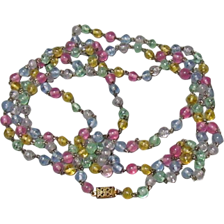 1920s Glass Bead Flapper Necklace 30-Inch