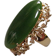 14K Gold and Gem Translucent Jade Jadeite Cabochon Ring
