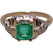14K Gold and Columbian Emerald Art Deco Ring
