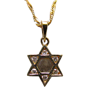 14K Gold & Diamond Star of David Pendant & 16-Inch Chain