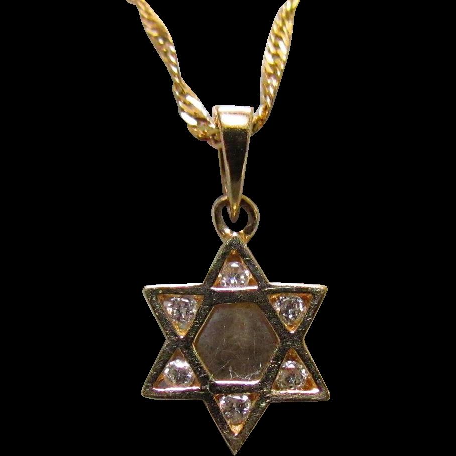 14K Gold & Diamond Star of David Pendant & 16-Inch Chain