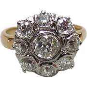 Victorian 14K & Platinum 1.75 – 2ctw Diamond Cluster Ring