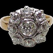 Victorian 14K & Platinum 1.75 – 2ctw Diamond Cluster Ring