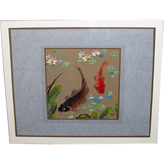 Vintage Yan Inlow Chinese Japanese Embroidery on Silk