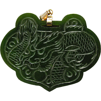 Vintage Chinese Carved Spinach Jade Pendant