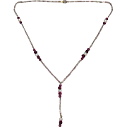10K Gold Rhodolite Garnet & Pearl Necklace