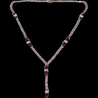 10K Gold Rhodolite Garnet & Pearl Necklace