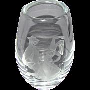1959 Cubist Cubism Norwegian Crystal Vase Dancers Hadeland