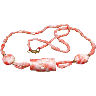 14K Carved and Branch Angelskin Coral Necklace
