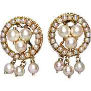 14K Gold & Cultured Pearl Cluster Clip-On Earrings
