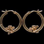 14K Gold Sitting Happy Frogs Hoop Earrings