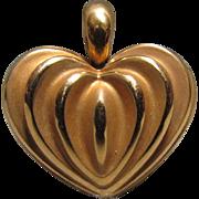 Elegant 3-D 18K Gold Heart Pendant