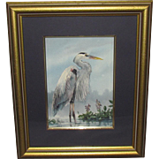 Jerry Nelson Haynes Great Blue Heron In Bayou Watercolor Louisiana