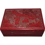 c1895 Chinese Qing Dynasty Carved Cinnabar Papier Mache Box