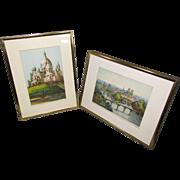 Two Marcel Julien Baron Etchings, Paris, Color Aquatint, Signed c1920
