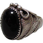 Arnold Maloney Navajo Sterling Silver & Black Onyx Ring
