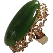 14K Gold and Large Translucent Jade Cabochon Ring