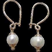 14K Gold Cultured Pearl Drop Earrings