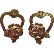 14K Yellow & Rose Gold Hearts and Roses Earrings