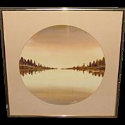 L. Olsen Sepia Lake Scene Watercolor, Signed