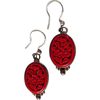 Sterling Silver Carved Solid Cinnabar Earrings - Photo Incorrect - See Other Photos