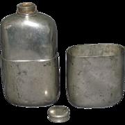 c1870 G. & J. W. Hawksley England Pewter Sporting Flask