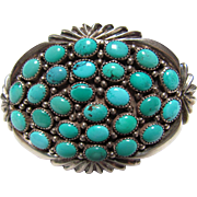 Navaho Sterling & Turquoise Signed Large Belt Buckle