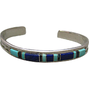 Zuni Sterling Turquoise & Lapis Bracelet L. Charlie
