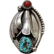 Navajo Sterling Squash Blossom, Coral & Turquoise Ring Bobby Thompson 32