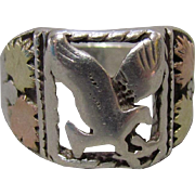 Southwest Sterling Eagle Ring & 12K Gold Leaves Bear Mark