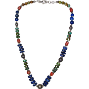 Hand-Made Southwest Sterling Turquoise Lapis Coral Necklace