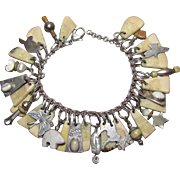 Unique Native American Sterling & Stone Charm Bracelet By Lujan