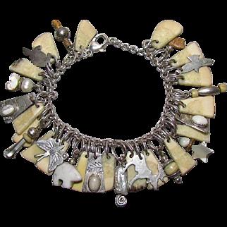 Unique Native American Sterling & Stone Charm Bracelet By Lujan