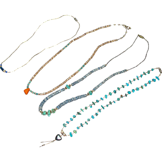Mid-Century Indian Powwow Natural Stone & Shell Necklaces
