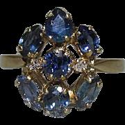 14K Gold, Blue Sapphire & Diamond Ring Israel